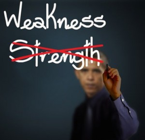 Obama Writing Projecting Weakness