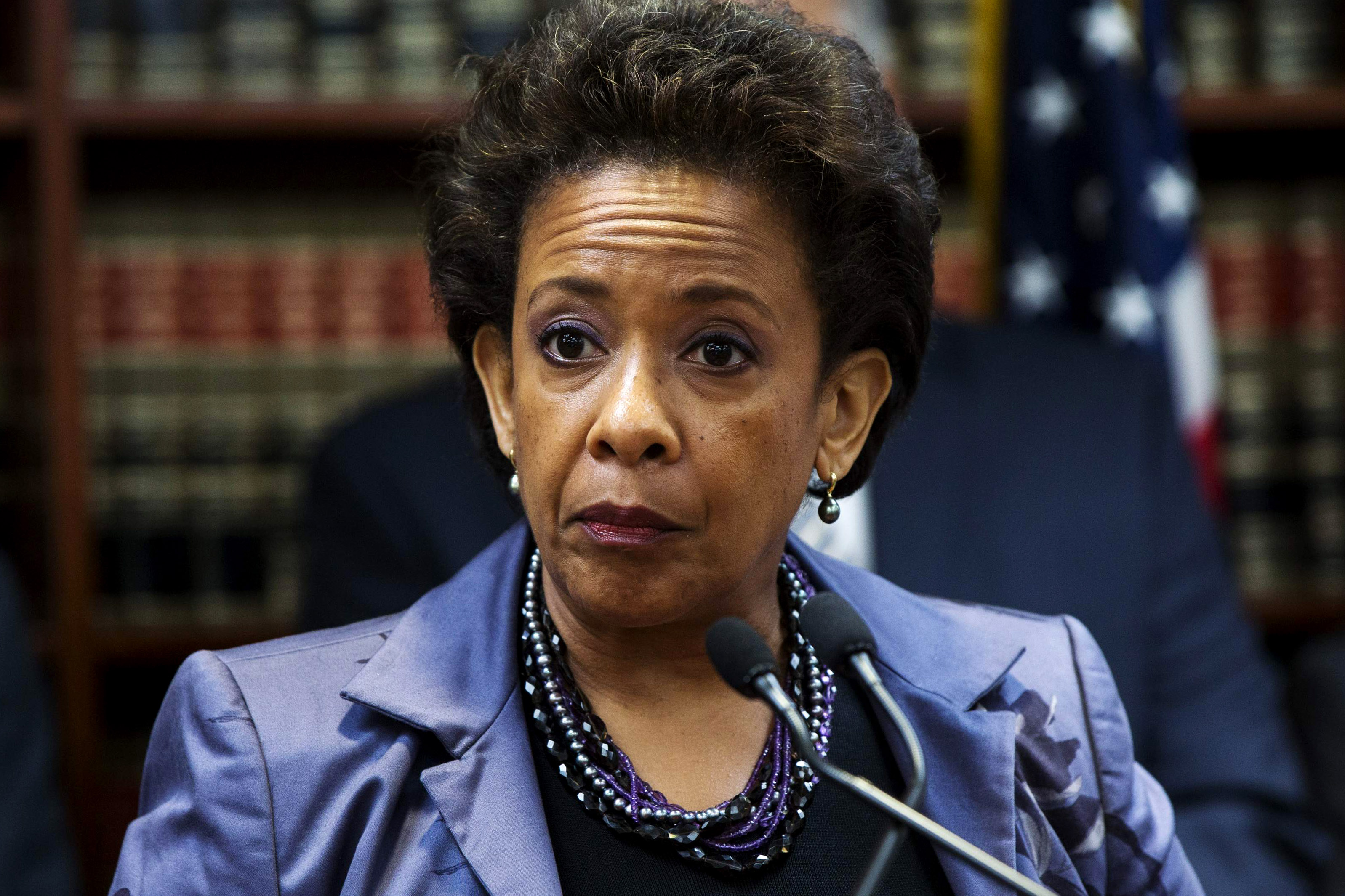 United States Attorney Loretta E. Lynch speaks during an announcement of the arrest of Abraxas J. (