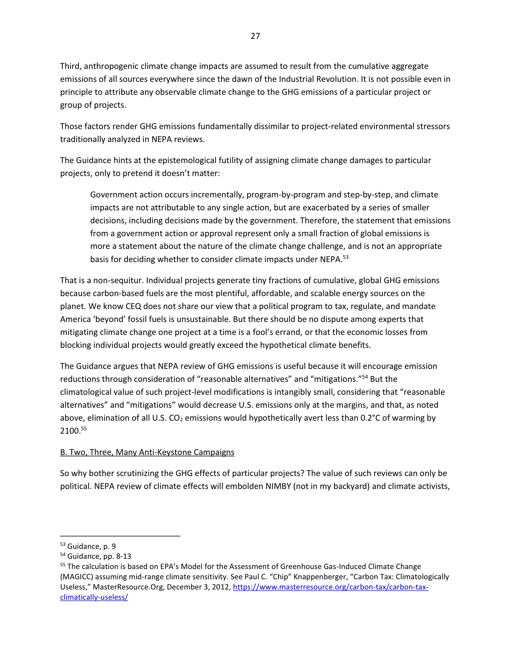 Marlo Lewis Competitive Enterprise Institute and Free Market Allies Comment Letter on NEPA GHG Guidance Document 99-27